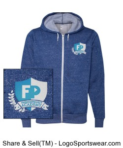 FPA Mens Zip Hoodie Heather Blue *Embroidered Design Zoom